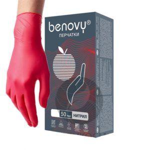 Перчатки нитриловые Benovy, красные, XS, 50пар