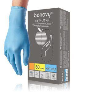 Перчатки нитриловые Benovy, голубые, L, 50пар