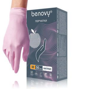 Перчатки нитриловые Benovy, розовые, M, 50пар