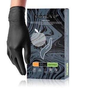 Перчатки нитриловые Benovy, черные, L, 50пар