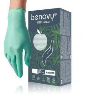Перчатки нитриловые Benovy, зеленые, S, 50 пар