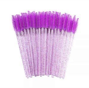 Щеточка нейлоновая для ресниц и бровей МИКС с блестящей ручкой 50шт