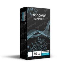 Перчатки нитровиниловые Benovy, голубые, L, 50пар
