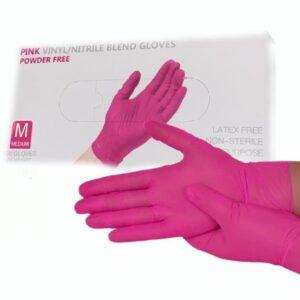 Перчатки нитровиниловые WALLY PLASTIC розовые, M, 50 пар