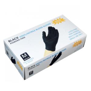 Перчатки нитровиниловые WALLY PLASTIC черные, M, 50 пар