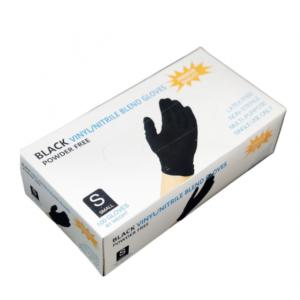 Перчатки нитровиниловые WALLY PLASTIC черные, S, 50 пар
